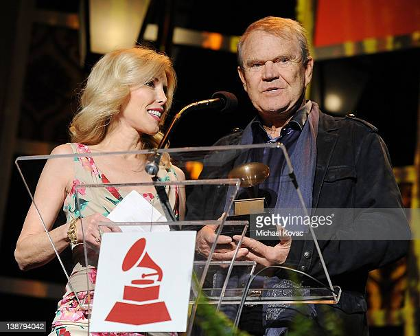 Honoree Glen Campbell with wife Kim Campbell accepts the Lifetime Achievement award during The 54th Annual GRAMMY Awards Special Merit Awards...