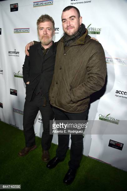 Honoree Glen Hansard and poet Stephen James Smith attend the 12th Annual USIreland Aliiance's Oscar Wilde Awards event at Bad Robot on February 23...