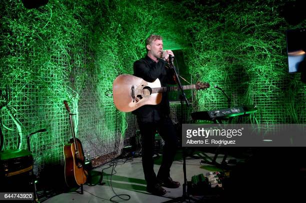 Honoree Glen Hansard performs onstage during the 12th Annual USIreland Aliiance's Oscar Wilde Awards event at Bad Robot on February 23 2017 in Santa...