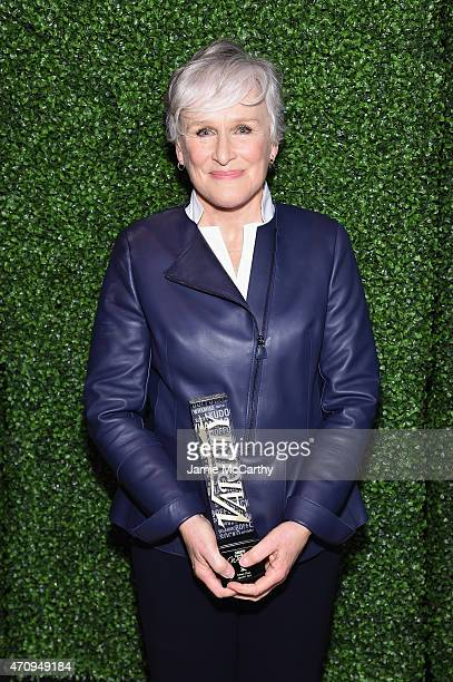 Honoree Glenn Close poses backstage at Variety's Power of Women New York presented by Lifetime at Cipriani 42nd Street on April 24 2015 in New York...