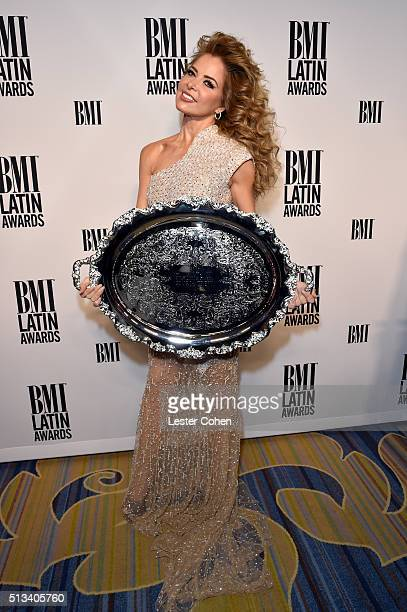Honoree Gloria Trevi poses with the 2016 BMI President's Award during the 23rd Annual BMI Latin Awards at the Beverly Wilshire Four Seasons Hotel on...
