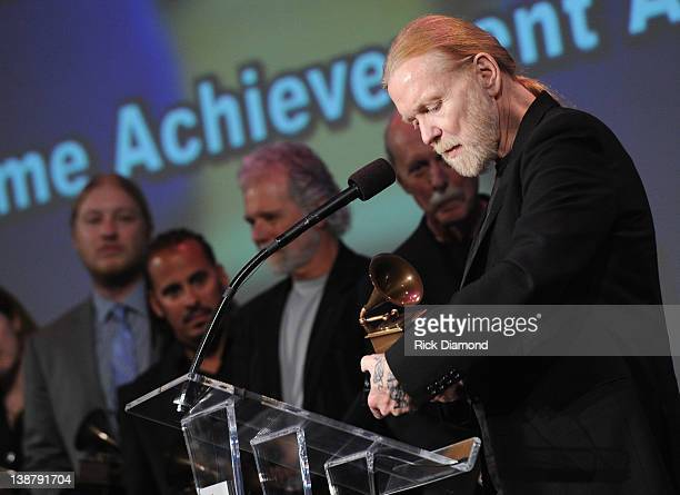 Honoree Gregg Allman of the Allman Brothers Band accepts Lifetime Achievement award during The 54th Annual GRAMMY Awards Special Merit Awards...