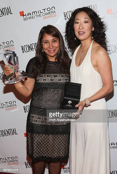 Honoree Haifaa alMansour and actress Sandra Oh attend Hamilton and Los Angeles Confidential Magazine's announcement of the 7th Annual Hamilton Behind...