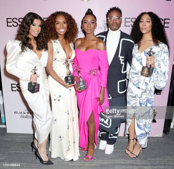 Honoree Hailie Sahar Honoree Janet Mock Honoree Angelica Ross Billy Porter and Honoree Mj Rodriguez attends the 2020 13th Annual ESSENCE Black Women...