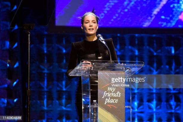 Honoree Halsey speaks onstage at Ending Youth Homelessness A Benefit for My Friend's Place at Hollywood Palladium on April 06 2019 in Los Angeles...