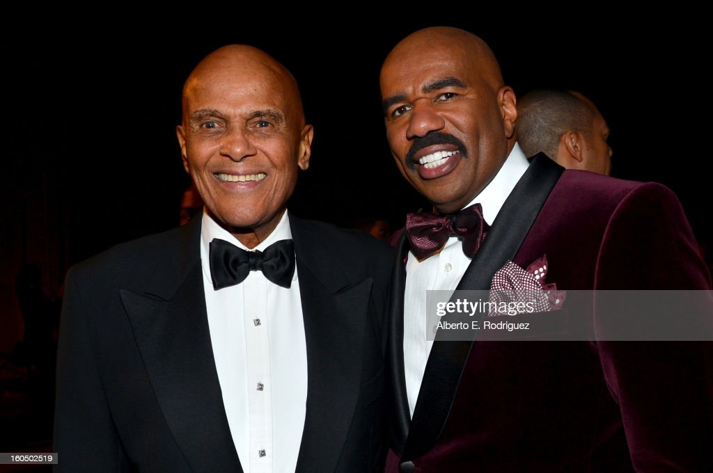 Honoree Harry Belafonte (L) and host Steve Harvey attend the 44th NAACP Image Awards at The Shrine Auditorium on February 1, 2013 in Los Angeles, California.