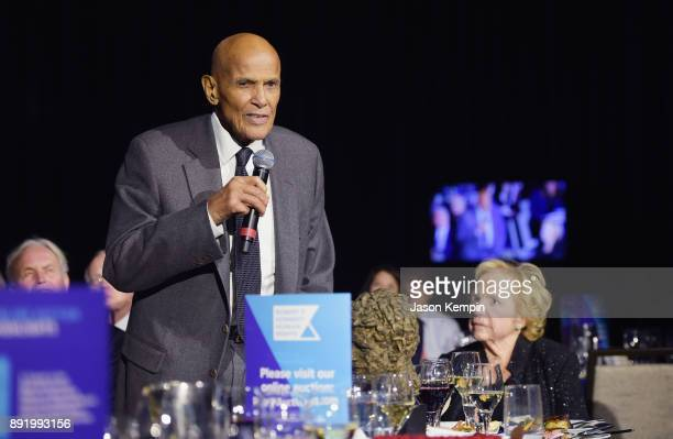 Honoree Harry Belafonte speaks as Ethel Kennedy looks on during Robert F Kennedy Human Rights Hosts Annual Ripple Of Hope Awards Dinner on December...
