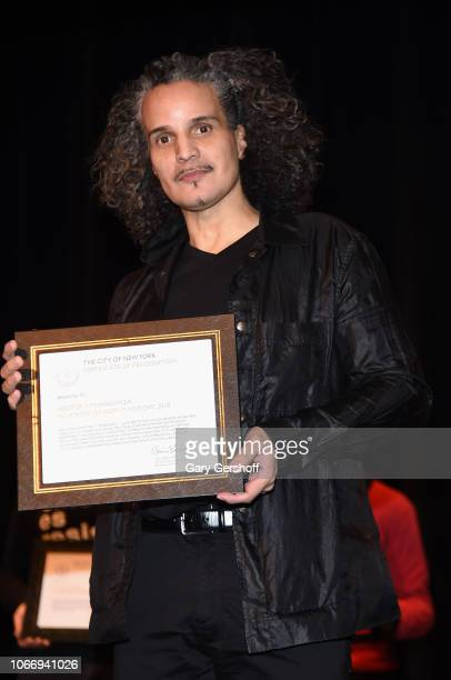 Honoree Hector Xtravaganza seen on stage during World AIDS Day at Baruch College on November 30 2018 in New York City