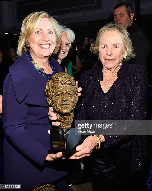Honoree Hillary Rodham Clinton accepts an award from Ethel Kennedy at the RFK Ripple Of Hope Gala at Hilton Hotel Midtown on December 16, 2014 in New...