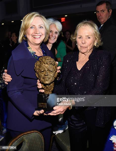 Honoree Hillary Rodham Clinton accepts an award from Ethel Kennedy at the RFK Ripple Of Hope Gala at Hilton Hotel Midtown on December 16 2014 in New...