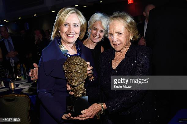 Honoree Hillary Rodham Clinton Kathleen Kennedy Townsend Ethel Kennedy attend the RFK Ripple Of Hope Gala at Hilton Hotel Midtown on December 16 2014...