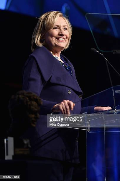 Honoree Hillary Rodham Clinton speaks onstage at the RFK Ripple Of Hope Gala at Hilton Hotel Midtown on December 16 2014 in New York City