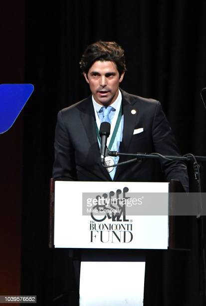 Honoree Ignacio 'Nacho' Figueras speaks onstage during the 33rd Annual Great Sports Legends Dinner which raised millions of dollars for the...