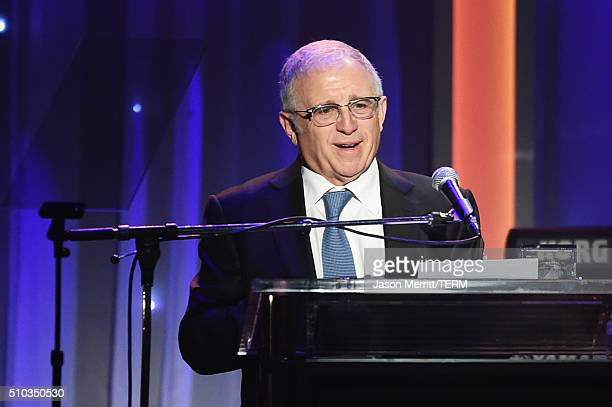 Honoree Irving Azoff accepts the President's Merit Award onstage during the 2016 PreGRAMMY Gala and Salute to Industry Icons honoring Irving Azoff at...