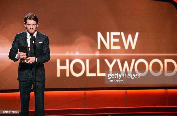 Honoree Jack O'Connell accepts the New Hollywood Award onstage during the 18th Annual Hollywood Film Awards at The Palladium on November 14 2014 in...