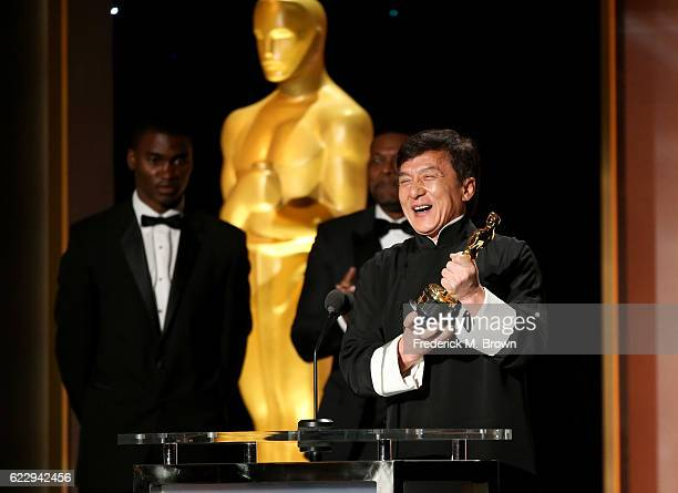 Honoree Jackie Chan accepts his award during the Academy of Motion Picture Arts and Sciences' 8th annual Governors Awards at The Ray Dolby Ballroom...