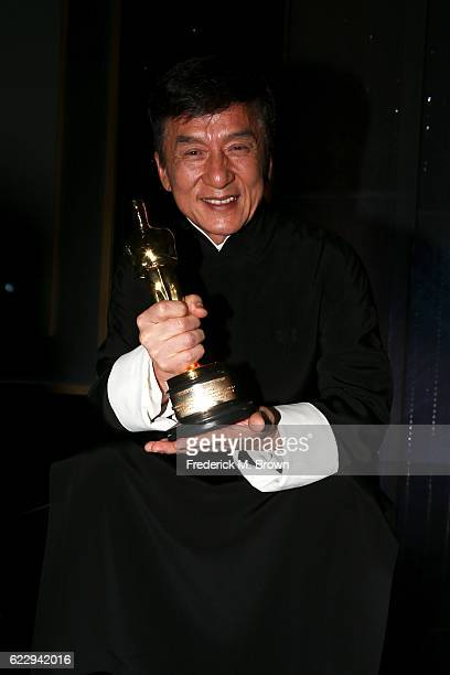 Honoree Jackie Chan poses with his award during the Academy of Motion Picture Arts and Sciences' 8th annual Governors Awards at The Ray Dolby...