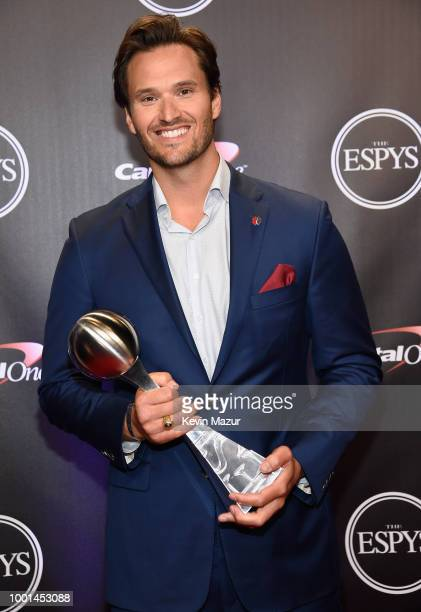 Honoree Jake Woods poses with his Pat Tillman Award at The 2018 ESPYS at Microsoft Theater on July 18 2018 in Los Angeles California