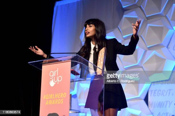 Honoree Jameela Jamil speaks onstage at the 2nd Annual Girl Up #GirlHero Awards at the Beverly Wilshire Four Seasons Hotel on October 13 2019 in...