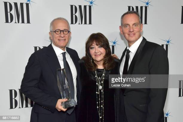 Honoree James Newton Howard BMI VP Film TV Visual Media Relations Doreen RingerRoss and BMI President CEO Mike O'Neill at the 2017 Broadcast Music...