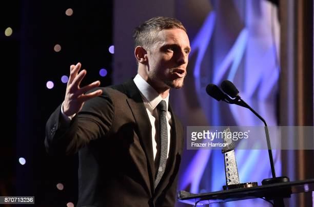 Honoree Jamie Bell accepts the New Hollywood Actor Award for 'Film Stars Don't Die in Liverpool' onstage at the 21st Annual Hollywood Film Awards at...