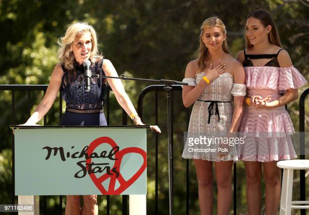 Honoree Jane Buckingham Lilia Buckingham and Maddie Ziegler speak onstage at Children Mending Hearts' 10th Annual Empathy Rocks on June 10 2018 in...