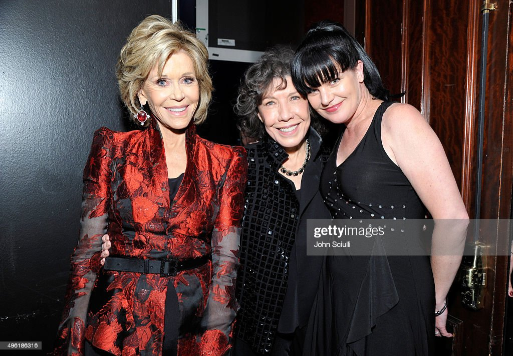Honoree Jane Fonda, actresses Lily Tomlin and Pauley Perrette arrive at the Los Angeles LGBT Center 46th Anniversary Gala Vanguard Awards at the Hyatt Regency Century Plaza on November 7, 2015 in Century City, California.