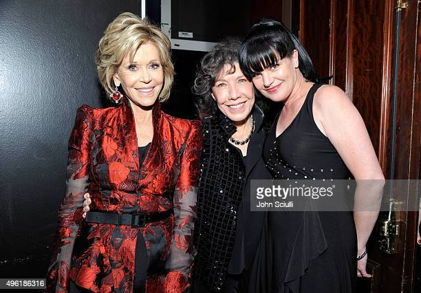 Honoree Jane Fonda actresses Lily Tomlin and Pauley Perrette arrive at the Los Angeles LGBT Center 46th Anniversary Gala Vanguard Awards at the Hyatt...