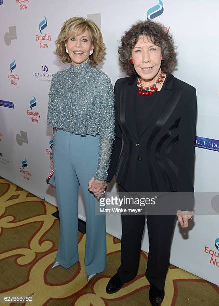 Honoree Jane Fonda and actress Lily Tomlin attend Equality Now's third annual Make Equality Reality Gala on December 5 2016 in Beverly Hills...
