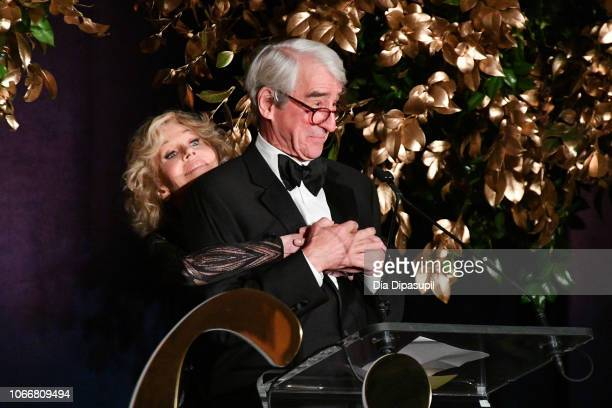 Honoree Jane Fonda and Sam Waterston speak onstage during the 2018 Trophee des Arts Gala at The Plaza Hotel on November 12 2018 in New York City