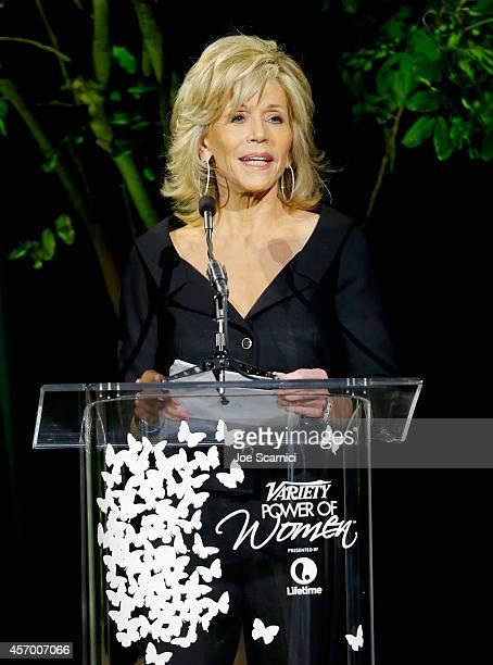 Honoree Jane Fonda speaks onstage at 2014 Variety Power of Women presented by Lifetime at Beverly Wilshire Four Seasons on October 10 2014 in Los...