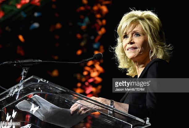 Honoree Jane Fonda speaks onstage during the 2014 Variety Power of Women presented by Lifetime at Beverly Wilshire Four Seasons on October 10 2014 in...