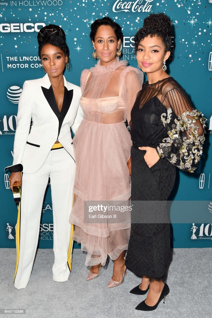 Honoree Janelle Monae, actor Tracee Ellis Ross and honoree Yara Shahidi at Essence Black Women in Hollywood Awards at the Beverly Wilshire Four Seasons Hotel on February 23, 2017 in Beverly Hills, California.