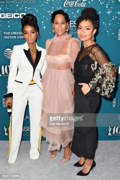 Honoree Janelle Monae actor Tracee Ellis Ross and honoree Yara Shahidi at Essence Black Women in Hollywood Awards at the Beverly Wilshire Four...