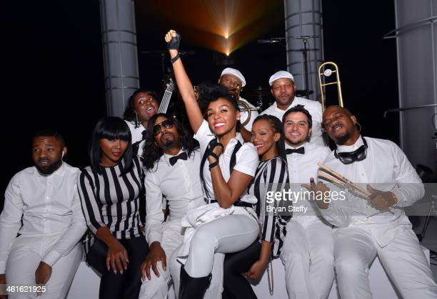 Honoree Janelle Monae and band poses backstage at the Variety Breakthrough of the Year Awards during the 2014 International CES at The Las Vegas...