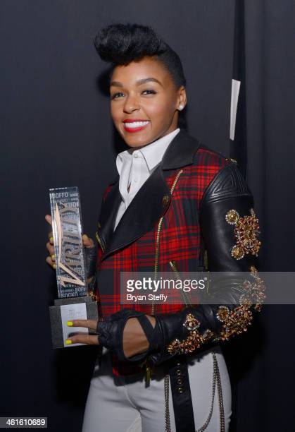 Honoree Janelle Monae poses with the Breakthrough Award for Music at the Variety Breakthrough of the Year Awards during the 2014 International CES at...