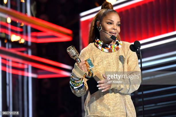 Honoree Janet Jackson accepts the Icon Award at the 2018 Billboard Music Awards at MGM Grand Garden Arena on May 20 2018 in Las Vegas Nevada