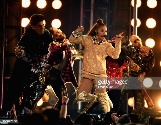 Honoree Janet Jackson performs onstage during the 2018 Billboard Music Awards at MGM Grand Garden Arena on May 20 2018 in Las Vegas Nevada