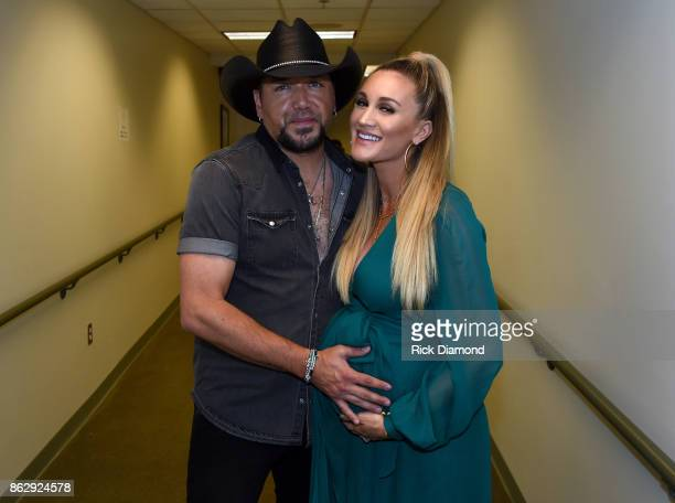 Honoree Jason Aldean and Brittany Kerr backstage at the 2017 CMT Artists Of The Year on October 18 2017 in Nashville Tennessee