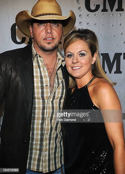 Honoree Jason Aldean and Jessica Aldean attend the 2011 CMT Artists of the year celebration at the Bridgestone Arena on November 29 2011 in Nashville...