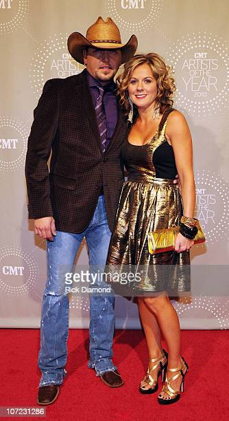 Honoree Jason Aldean and wife Jessica Aldean attend the CMT Artists of the Year at The Factory on November 30 2010 in Franklin Tennessee