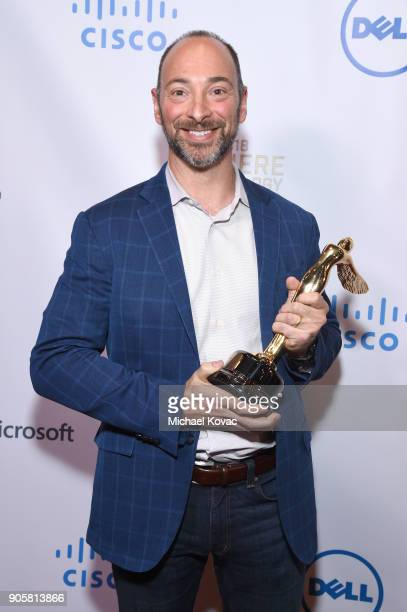 Honoree Jason Rosenthal poses with the Lumiere Technology Award at the Advanced Imaging Society 2018 Lumiere Technology Awards Featuring The...