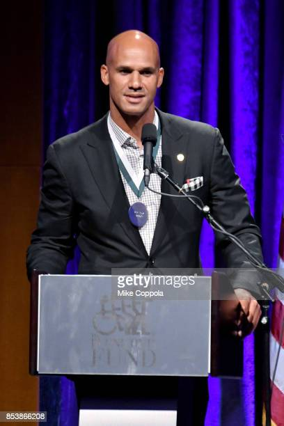 Honoree Jason Taylor speaks onstage at the 32nd Annual Great Sports Legends Dinner To Benefit The Miami Project/Buoniconti Fund To Cure Paralysis at...