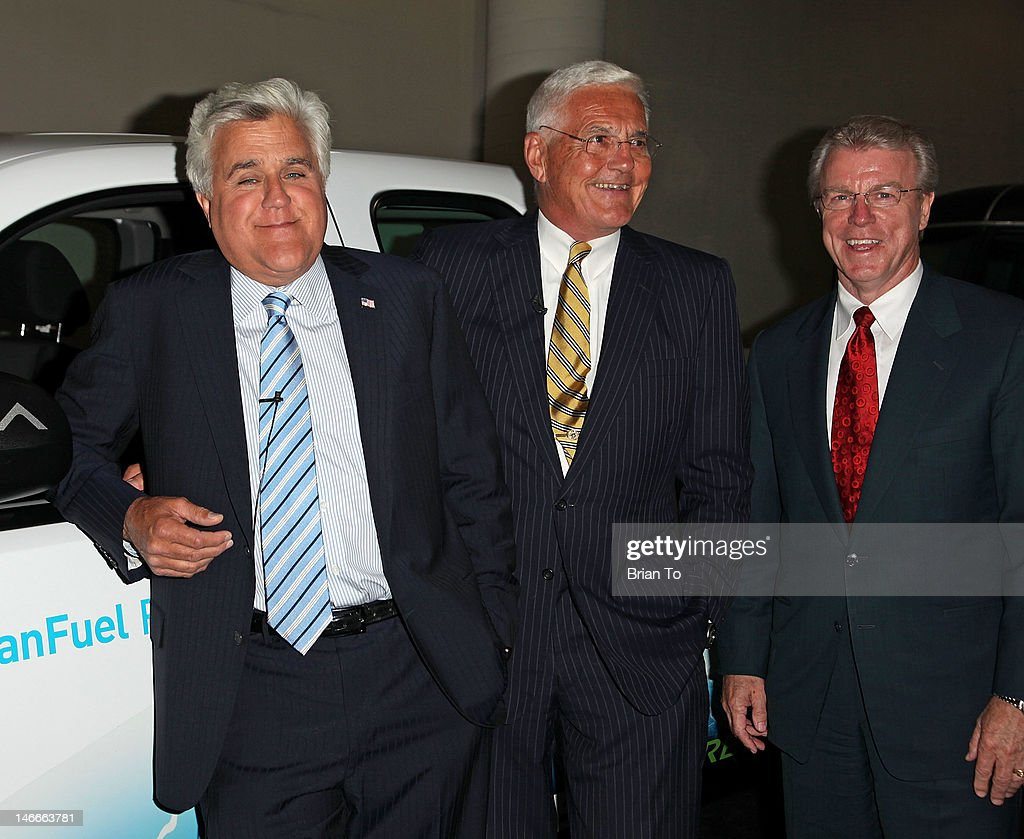 Honoree Jay Leno, former General Motors vice chairman Bob Lutz, and guest attend 2012 California Air Quality Awards at Petersen Automotive Museum on June 21, 2012 in Los Angeles, California.