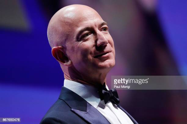 Honoree Jeff Bezos speaks at the 21st Annual HRC National Dinner at the Washington Convention Center on October 28 2017 in Washington DC