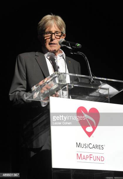 Honoree Jeff Greenberg speaks onstage at the 10th annual MusiCares MAP Fund Benefit Concert to raise funds for MusiCares' addiction recovery...