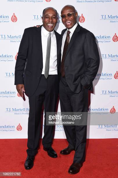 Honoree Jeffrey Harleston and guest attend The TJ Martell Foundation 43rd New York Honors Gala at Cipriani 42nd Street on October 15 2018 in New York...