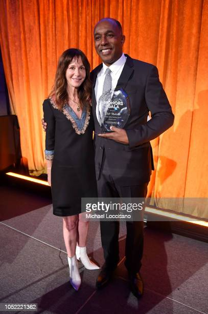Honoree Jeffrey Harleston and Presenter Jody Gerson pose for a photo backstage during The TJ Martell Foundation 43rd New York Honors Gala at Cipriani...