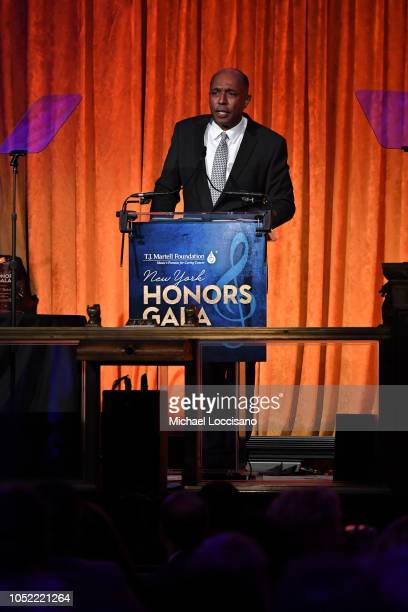 Honoree Jeffrey Harleston speaks at The TJ Martell Foundation 43rd New York Honors Gala at Cipriani 42nd Street on October 15 2018 in New York City
