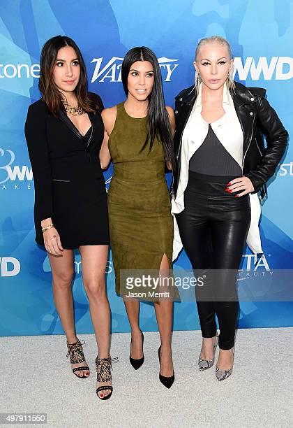 Honoree Jen Atkin TV personality Kourtney Kardashian and Joyce Bonelli attend the WWD And Variety inaugural stylemakers' event at Smashbox Studios on...